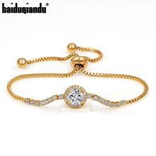 baiduqiandu Shinning AAA Cubic Zirconia CZ Zircon Crystal Adjustable Bolo Bracelets for Women Wedding or Bridesmaid Jewelry