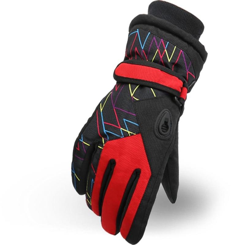 Hot HG-Winter Children'S Outdoor Warm Gloves Taslan Wear Ski Riding Gloves Red