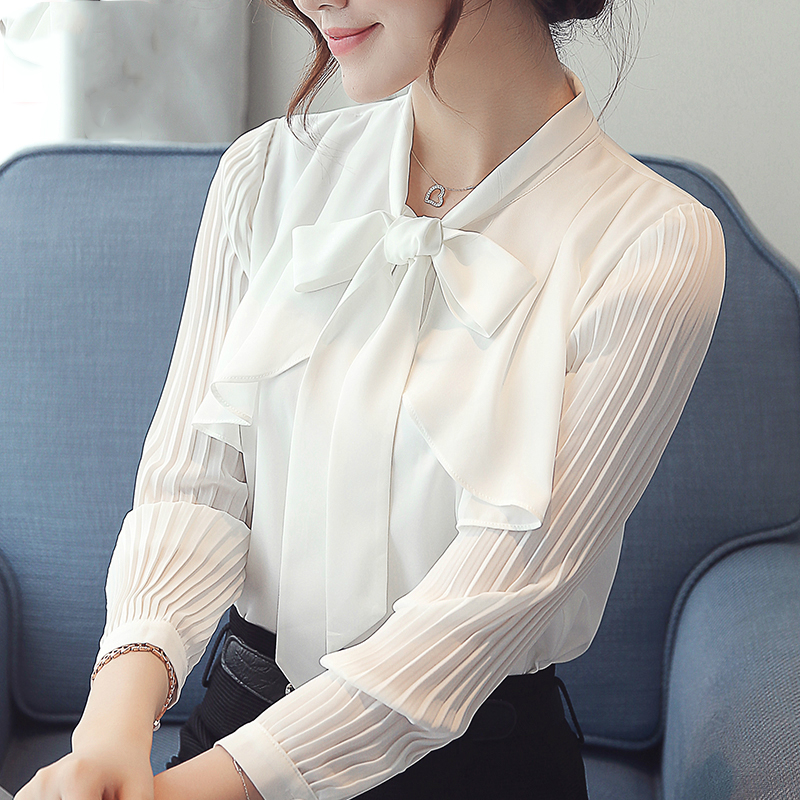 COIGARSAM 2019 New Autumn Blouse Women Bow Full Sleeve Solid Chiffon ~ Blusas Womens Tops And Blouses White Pink Blue 6135