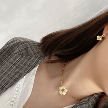 European and American Korean version of personality simple sterling silver 925 women's gold flower necklace jewelry
