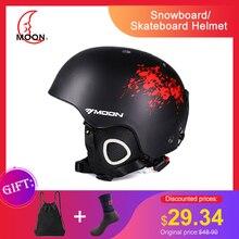 MOON лыжный шлем PC+ EPS CE Сверхлегкий мужской женский лыжный шлем цельно-Формованный шлем для спорта на открытом воздухе Сноуборд Скейтборд