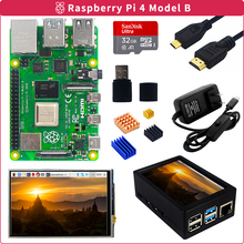 Case Touchscreen Power-Supply Raspberry Pi 4-Model-B-Kit for Heat-Sink Sd-Card 4g/8g