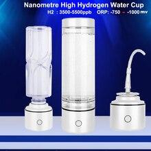 Nanometre SPE ve PEM yüksek konsantrasyonlu hidrojen zengin su şişesi 3500 5500ppb ORP Mini elektroliz H2 ionizer jeneratör IHOOOH