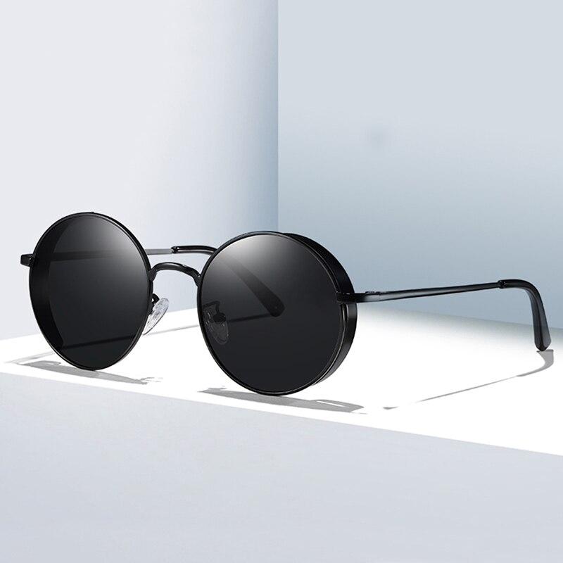 Classic Gothic Steampunk Sunglasses Polarized Men Women Brand Designer Vintage Round Metal Frame Sun Glasses UV400