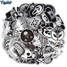 Adesivos metálicos para laptop, adesivos preto e branco para bagagem e skate em laptop, à prova d'água, 100 peças