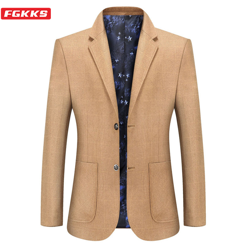 FGKKS Business Blazer Men Autumn Slim Fit Men's Casual Jackets Suit High Quality Brand Male Formal Blazers Coat