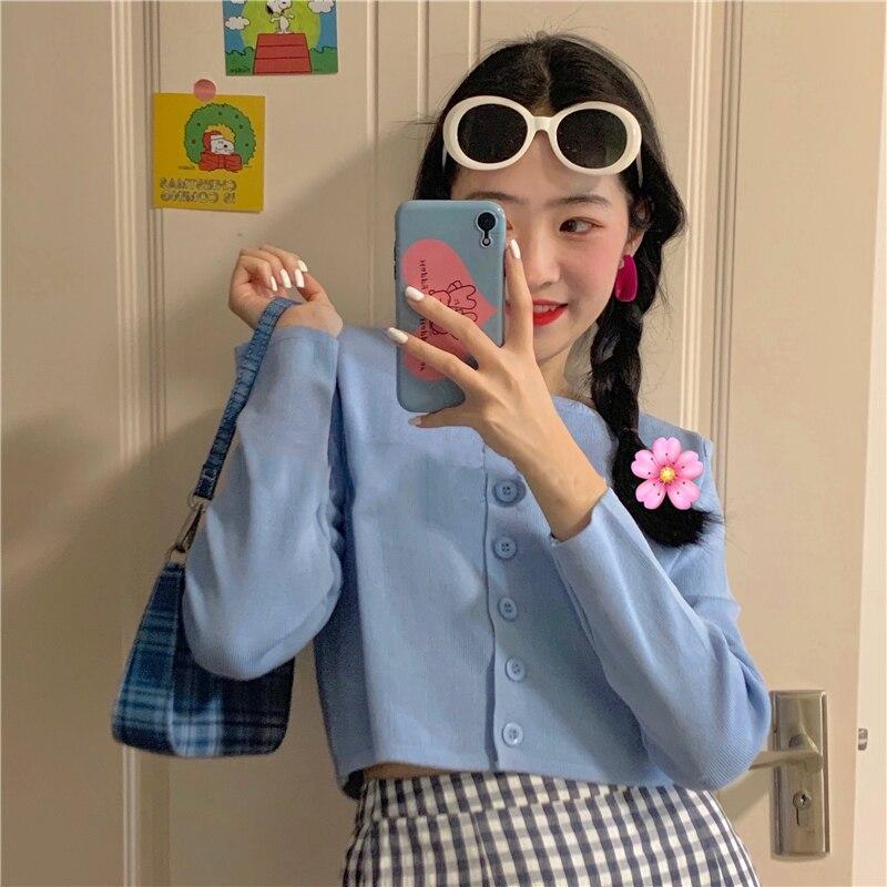 Women Streetwear Knitted Cardigan Button Up Korean Cute Sweaters Cropped Cardigan Knitwear Kawaii Crop Sweater Knitting Top