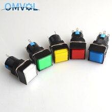 16 мм Мгновенный и само закрывающий кнопочный переключатель с светодиодный квадратный потолочный светильник кнопка