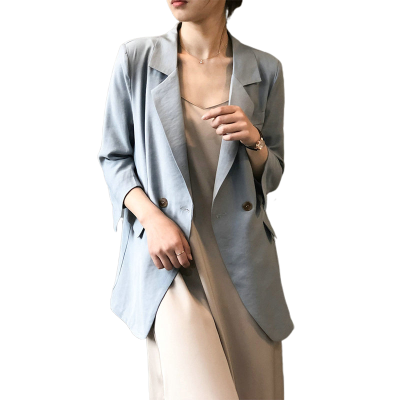 Tangada Women Spring Thin Blazer Female Elegant Jacket Ladies Work Wear Blazer Suits High Quality ASF36
