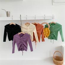 Топы для девочек вязаный свитер однотонный Детский кардиган