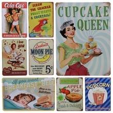 Get more info on the 30X20cm Car Plates Retro Metal Art Poster Plaque Apple Pie Popcorn Vintage Tin Sign Plate Bar Pub Home Garage Wall Decor H38