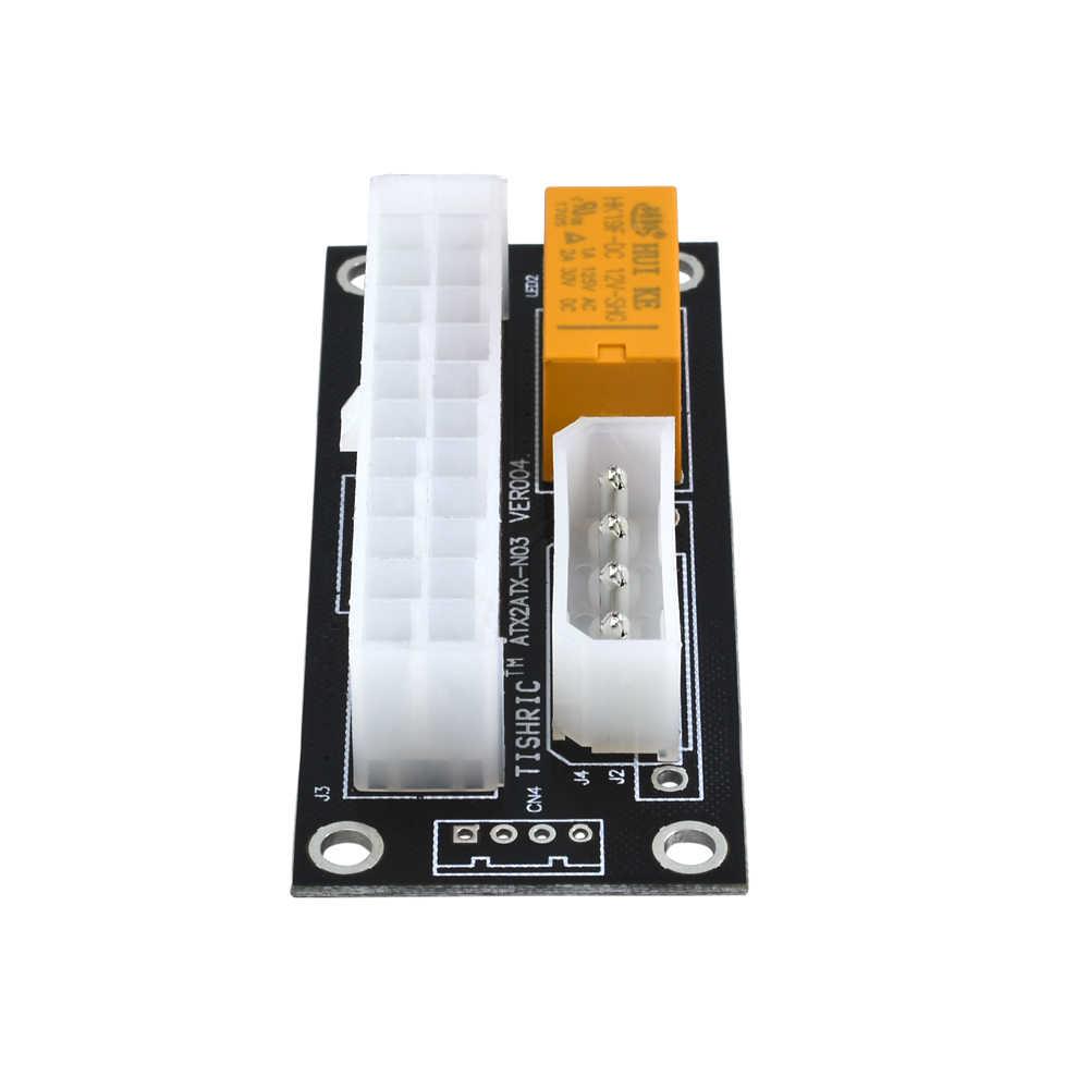 TISHRIC Siyah Çift PSU Güç Kaynağı Sync Adaptörü Add2psu ATX 24Pin To 4pin Molex Senkron Konektörü Yükseltici Kablo Madenci Madencilik