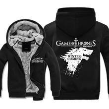TV Series Song of Ice and Fire Jacket Winter is Coming Stark Men Jacket and Coat Long Sleeve Thick Wool Warm Winter Coats hot sale 216 autumn winter game of thrones sweatshirt men house stark mens thick jacket a song of ice and fire winter is coming