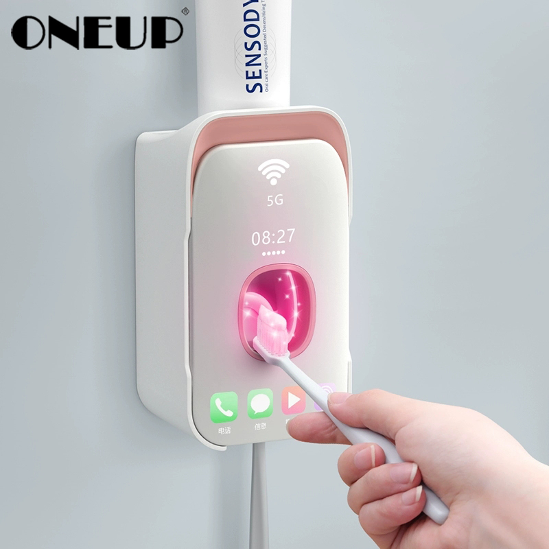 ONEUP Plastic Wall Mounted Toothbrush Holder Automatic Toothpaste Dispenser Toothbrush Storage For Toilet Bathroom Accessories