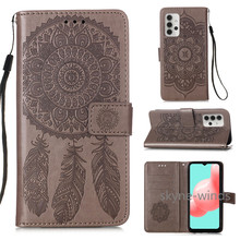 For Samsung Galaxy A 32 5 G A32 5G lanyard flip wallet stand phone case embossing dreamcatcher cover for SM A32 coque fundas