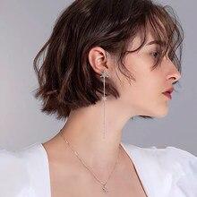Snowflake tassel long ear clip 925 pure silver micro inlaid zircon exquisite fashion temperament high end women