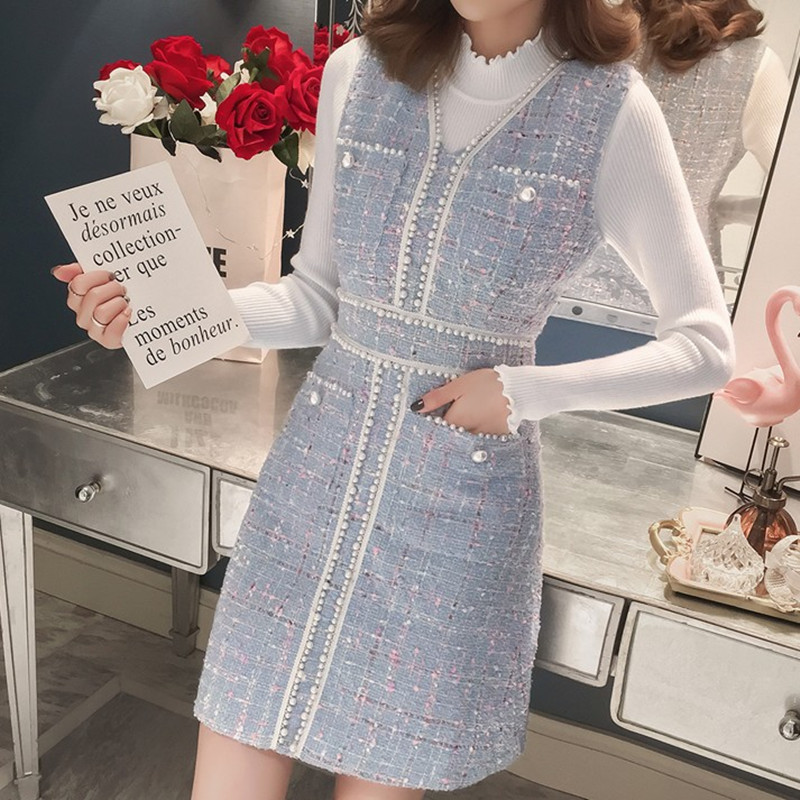 Women Winter White Knitted Sweater Top And V-neck Plaid Pearls Short Tweed Pocket Vest Wool Overalls Dress Suit