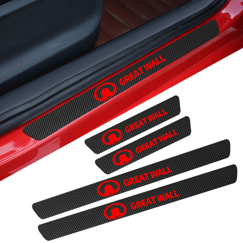 Car Carbon Fiber Protect Stickers Look Car Door Plate Sill Scuff Welcome Pedal Threshold Cover For Great Wall Haval Hover H3 H5