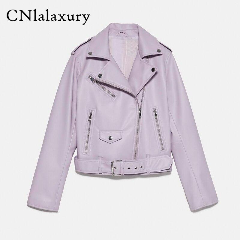Женская короткая байкерская куртка из искусственной кожи, фиолетовая облегающая куртка с поясом, верхняя одежда, весна осень 2020|Кожаные куртки| | АлиЭкспресс