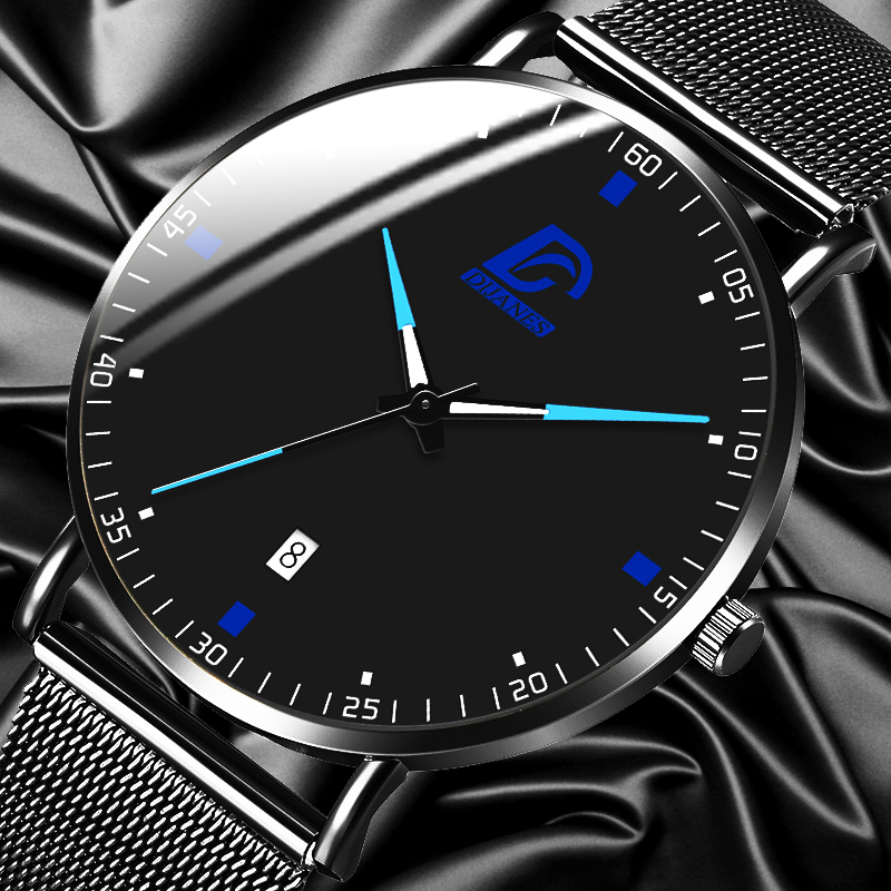 2020 Fashion Mens Business Minimalist Watches Luxury Ultra Thin Stainless Steel Mesh Belt Analog Quartz Watch Relogio Masculino
