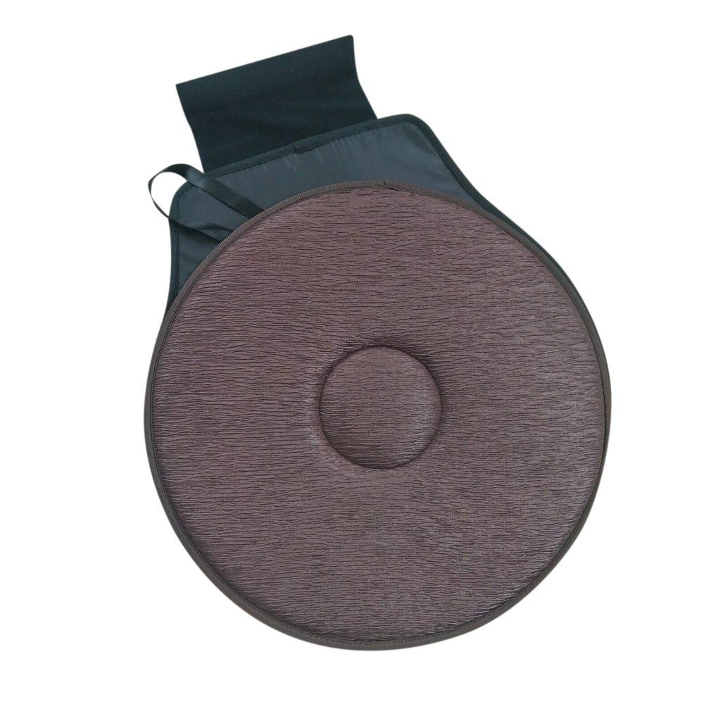 2pcs Non-slip Car Seat Revolving Rotating Cushion Swivel Foam Mobility Aid Seat Cushion In Chair Tie On Pad Dark Brown Massage