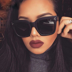 Trends 2021 Black Lens Big Square Women's Sunglasses Vintage Brand Designer Oversized Women Shades Sun Protection Glasses