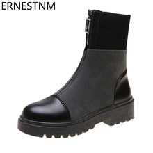 ERNESTNM Ankle Boots Women Fashion Zipper Black Comfortable PU Leather Stretch Cloth Boots Ladies Autumn Botas Mujer Invierno(China)