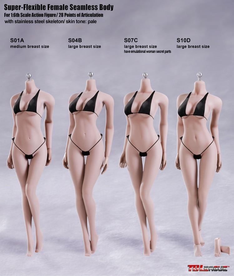 Phicen TBLeague 1/6 Scale Female Seamless Body Figure S01A S04B S07C S10D Pale Color Woman Action Figure Model