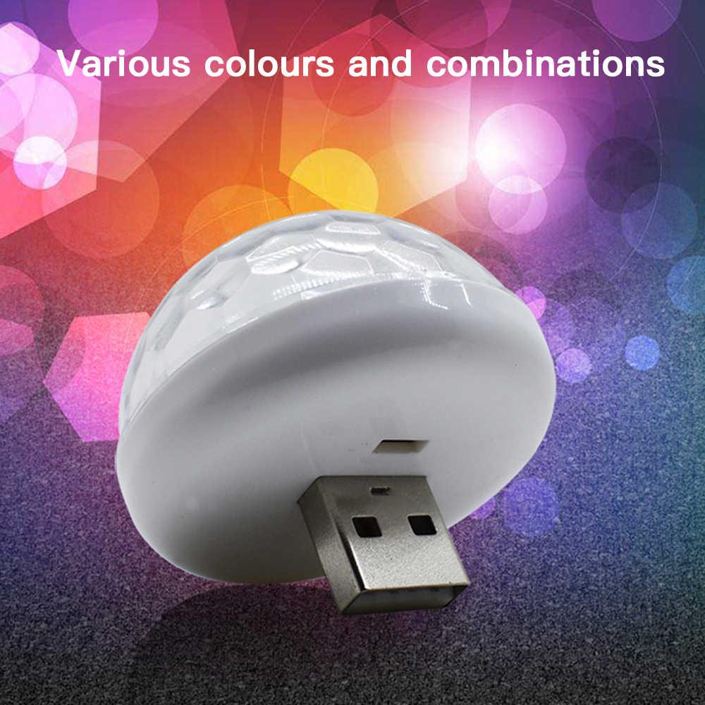 קול שליטה קטן קסם כדור מנורת RGB נייד טלפון usb קריסטל קסם כדור שלב מנורת 3w מיני צבעוני dj קטן קסם כדור 4