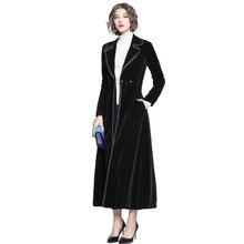 2019 Autumn Winter Women's Black Velvet Coat Fashion Long Maxi Trench Coats Sing