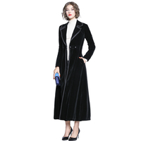 2019 Autumn Winter Women's Black Velvet Coat Fashion Long Maxi Trench Coats Single button Notched CollarLong Sleeve Outerwear