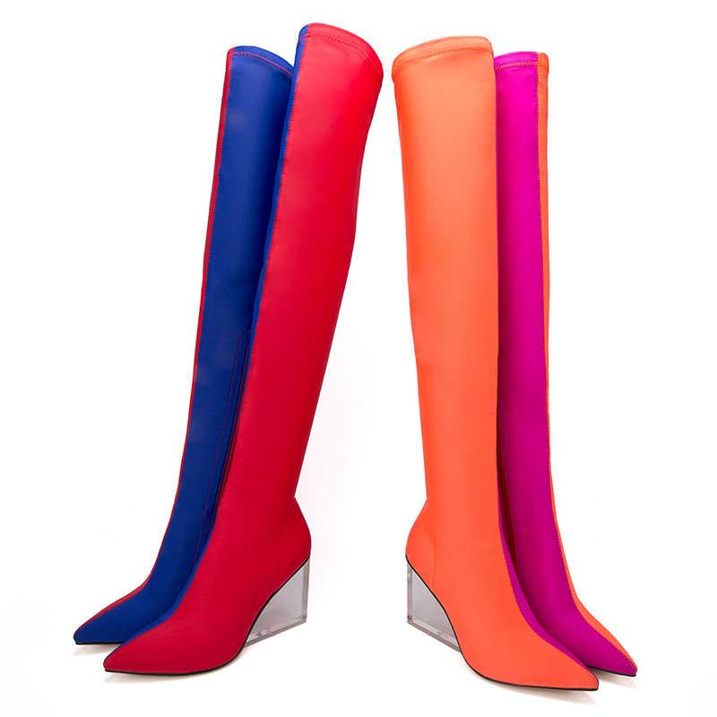 MStacchi ใหม่ผู้หญิงกว่าเข่าบู๊ทส์ผู้หญิงสีผสมผ้ายืดหยุ่น Wedges รองเท้าส้นสูงรองเท้า Mujer โปร่งใสส้นเท้ายาว boot