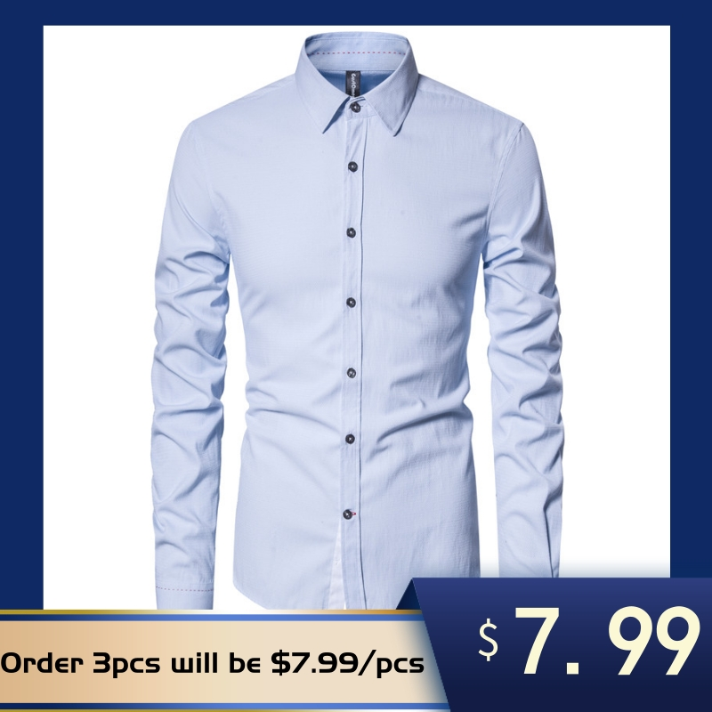 NEGIZBER Spring Long Sleeve Shirt Men Fashion Top Quality Cotton Turn-down Collar Mens Dress Shirts Casual Social Men Clothing