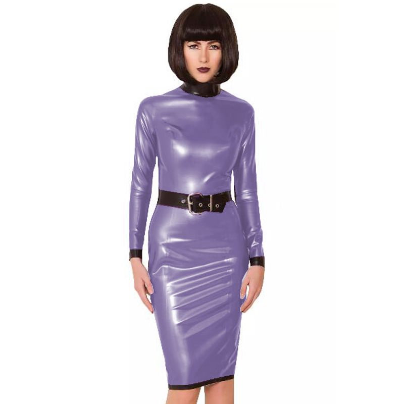 24 Colors Back Zipper Long Sleeve Knee Length Dress Lady Slim Vestido Fashion Patchwork Color Midi Dress Sexy Stage PVC Clubwear 8