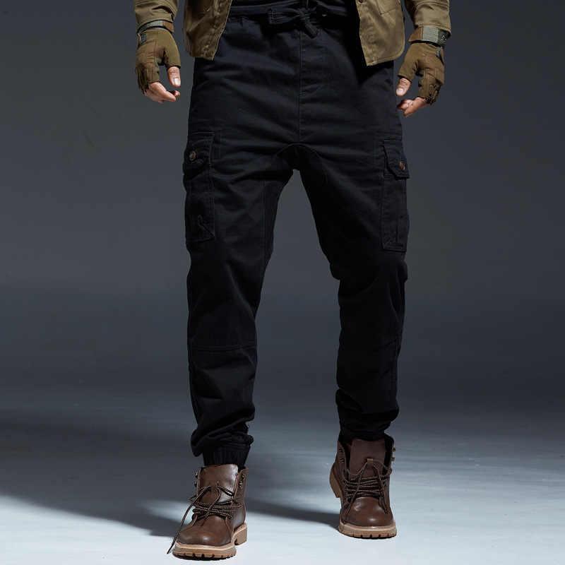패션 Streetwear 남자 청바지 멀티 포켓 캐주얼화물 바지 위장 군사 스타일 슬랙 하단 힙합 조깅 바지 남자