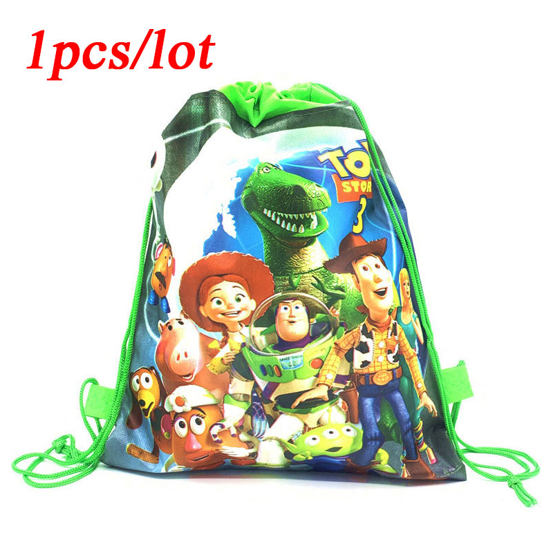 Disney Toy Story Party Bags For Kids Birthdays Non-Woven Drawstring Gift Bag Kids School Backpack Boy Travel Storage Package 1pc