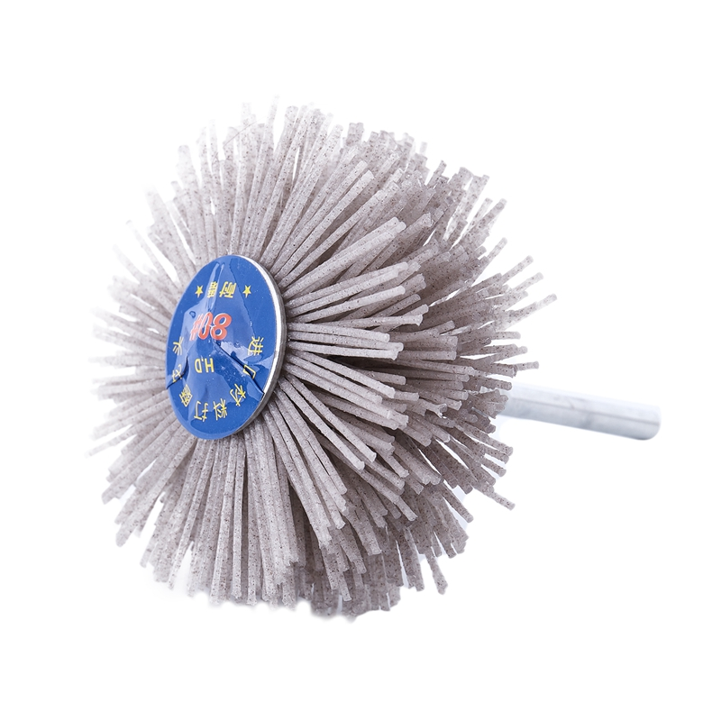 6mm Shank 80mm Dia Abrasive Nylon Wheel Brush Woodwork Polish Bench Grinder