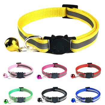 Pets Dog Bell Night Safety Reflective Collar Cat Head Buckle Necklace Neck Strap image