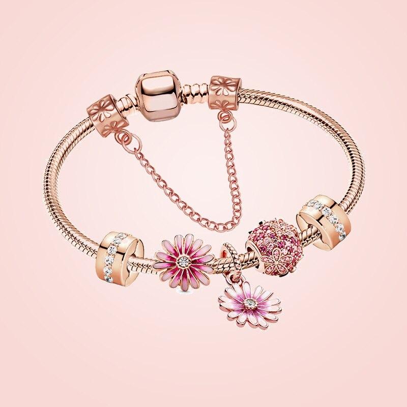 Seialoy New garden rose Daisy Charm Bracelets For Women Fashion Original Daisy Flower Beaded Bracelet & Bangle Jewelry Gift
