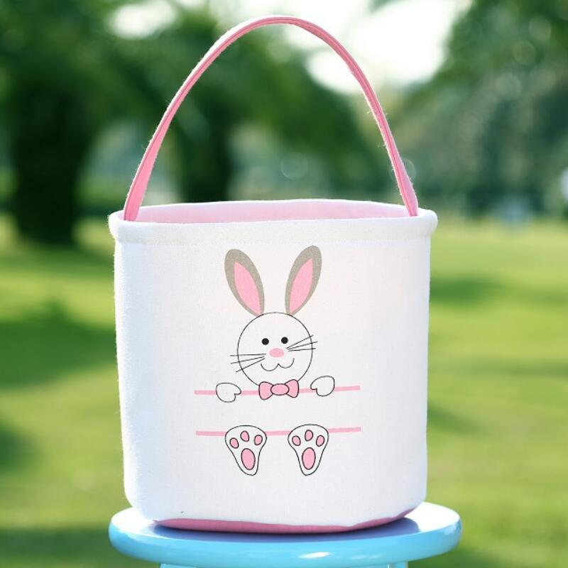 Fast Shipping Easter Basket Monogram Canvas Buckets Personalized Easter Bunny Gift Bags Bunny Tail Tote Bag LX9291