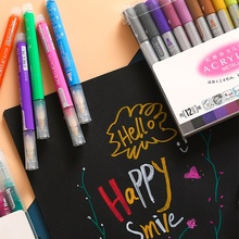 12pcs Acrylic Metallic Color Marker Pen Washable Glitter Bling Painting Drawing for Nail Metal Glass Journal Lettering Art F117