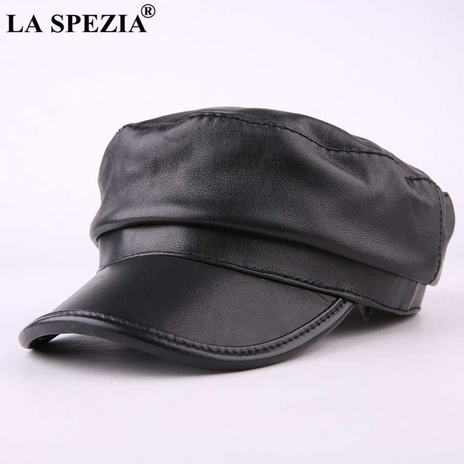 لا SPEZIA الصلبة الأسود غاتسبي القبعات للنساء القبعات جلد طبيعي عارضة موزع الصحف قبعات الرجال الربيع بيكر الصبي كاب الذكور شقة القبعات
