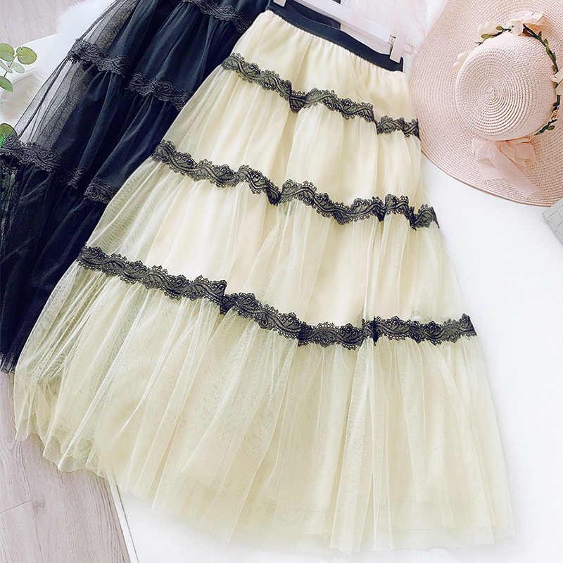 Printemps doux taille haute Tulle jupe femmes dentelle Patchwork fée jupe moyenne longue élégante plissée jupes