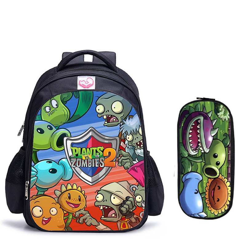 School-Backpack Book-Bag Zombie VS Mochila 16inch-Plants Girls For Boys Infantil Hot-Game