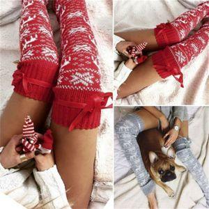 겨울 크리스마스 다리 따뜻하게 새로운 여성 니트 모직 다리 따뜻하게 따뜻한 열 뜨개질 크리스마스 메리 크리스마스 2019 뜨거운