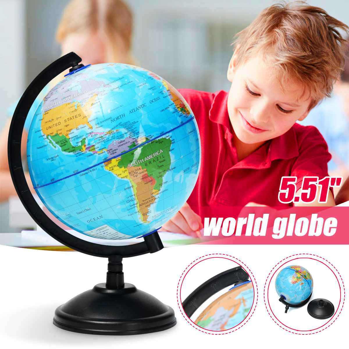 14cm World Globe Map On Stand Large Student Toys Education Globe National Boundries Rivers Mountains Geography School Supplies