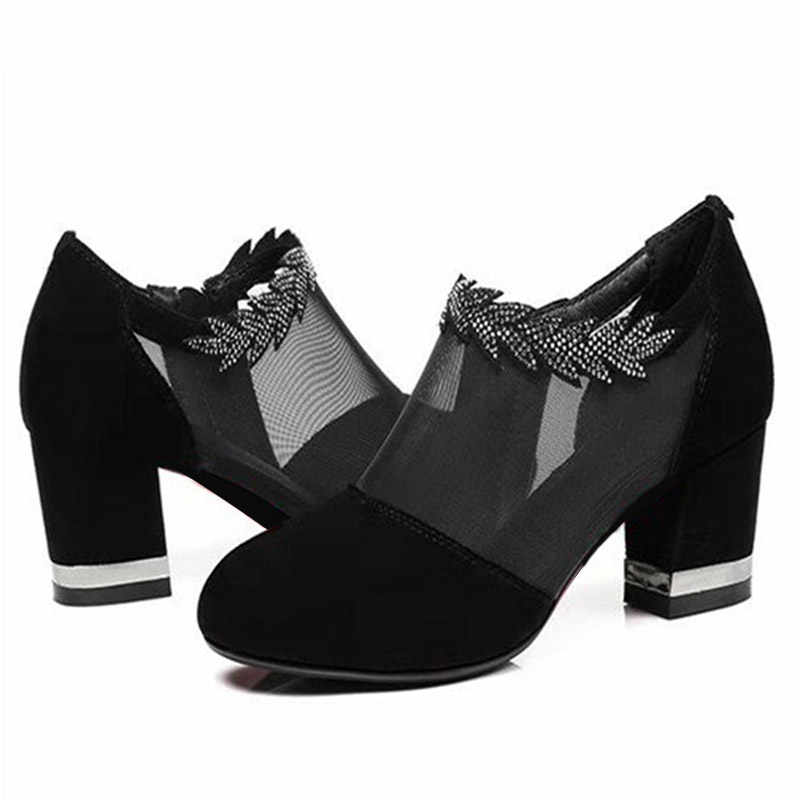 Yaz kadın kristal ayakkabı Zip kalın yüksek topuklu kadın pompaları seksi örgü kadın platformu üzerinde kayma Hollow Out bayanlar parti ayakkabı
