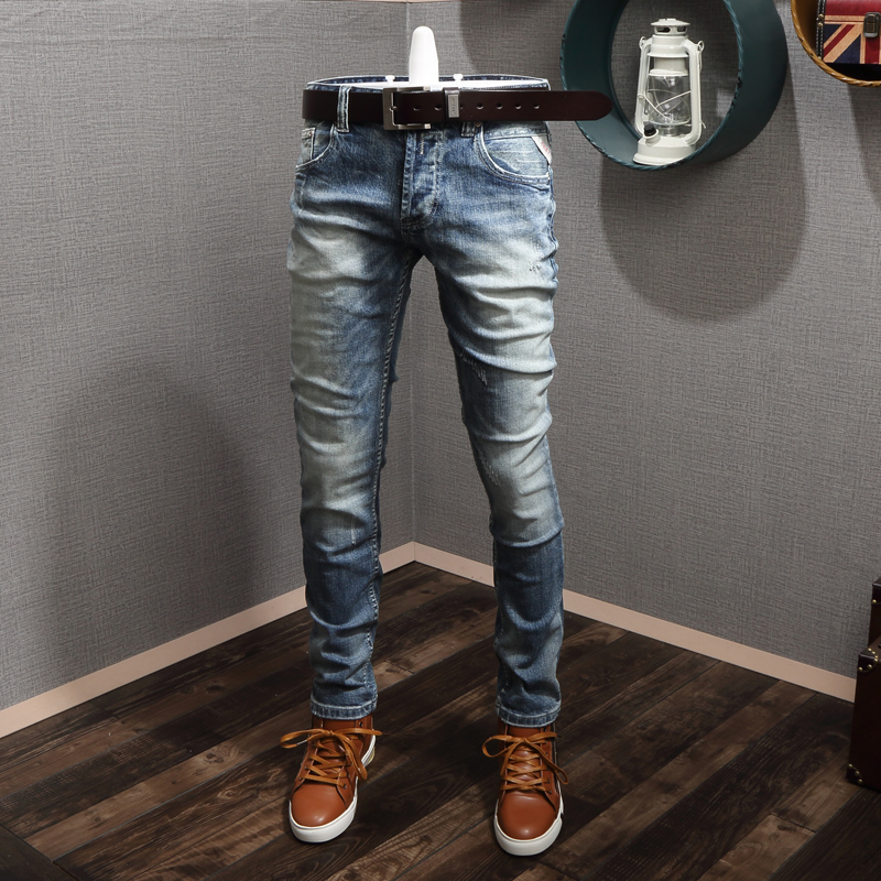 Italian Style Fashion Men Jeans Light Blue Elastic Slim Fit Classical Jeans Men Buttons Pants Newly Vintage Designer Jeans Homme