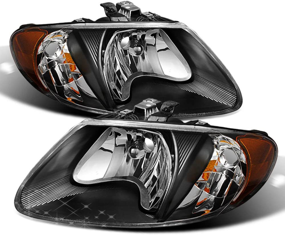 Sulinso Fit For Black 2001-2007 Dodge Caravan Town & Country 01-03 Voyager Headlights Driver + Passenger Side