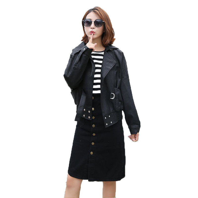 Fashion Faux   leather   coat women black beige leisure PU jacket autumn winter new lapel short paragraph faux   leather   jacket LR425
